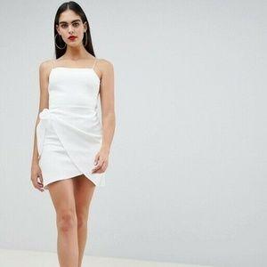 ASOS DESIGN Wrap Front Bow Scuba Mini Dress White